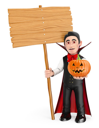 humor: 3d halloween people illustration. Funny monster. Vampire with a blank wooden sign and a pumpkin. Isolated white background.