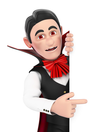 character cartoon: 3d halloween people illustration. Funny monster. Vampire pointing aside. Blank space. Isolated white background. Stock Photo