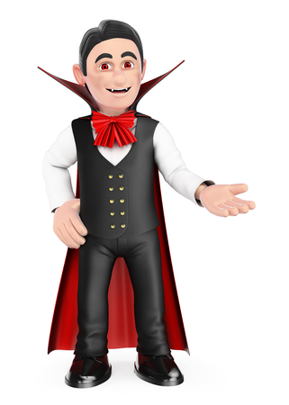 3d halloween people illustration. Funny monster. Vampire pointing aside. Blank space