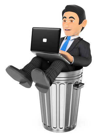 in trouble: 3d business people illustration. Businessman working with a laptop in a dustbin. Dead end job. Isolated white background.