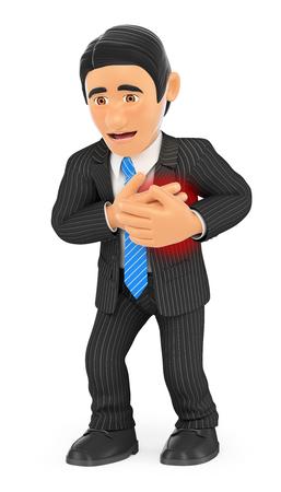 dolor de pecho: 3d ilustración de la gente de negocios. Hombre de negocios con un ataque al corazón. fondo blanco aislado.