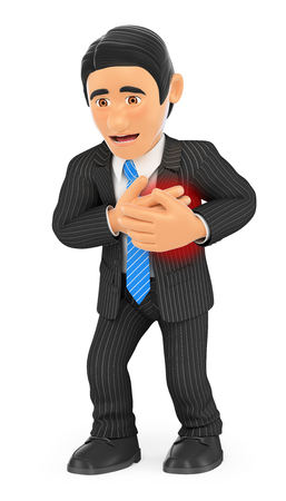 3d business people illustration. Businessman with a heart attack. Isolated white background.