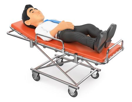 paciente en camilla: 3d personas médicas ilustración. Empresario acostado en una camilla en el hospital. fondo blanco aislado.
