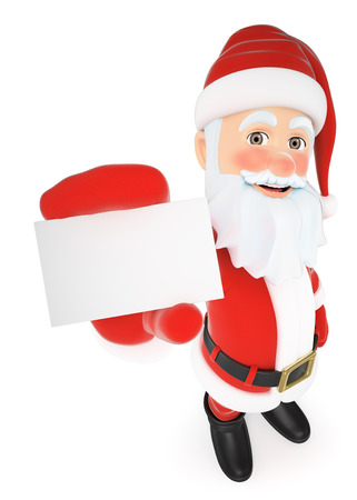 christmas celebration: 3d christmas people illustration. Santa Claus showing a blank card. Isolated white background.