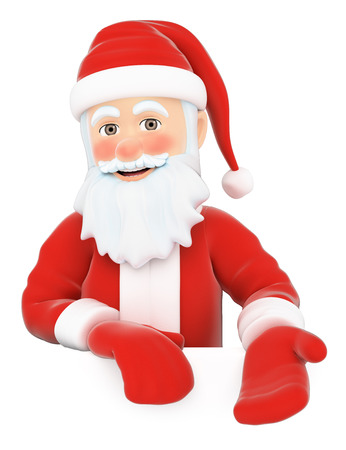3d christmas people illustration. Santa Claus pointing down. Blank space. Isolated white background. Stock Photo
