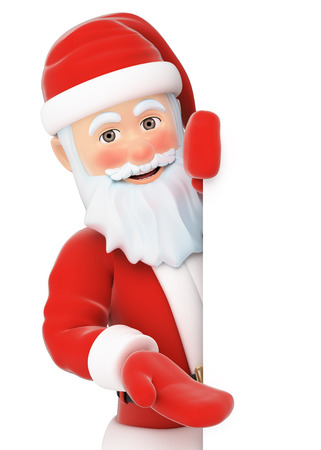 3d christmas people illustration. Santa Claus pointing aside. Blank space. Isolated white background.