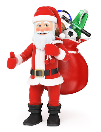 3d christmas people illustration. Santa Claus with a sack full of toys and thumb up. Isolated white background.