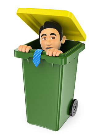 3d business people illustration. Businessman hiding in a trash bin. Isolated white background. Stock Photo