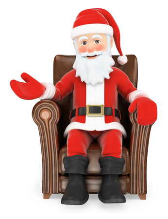 3d christmas people illustration. Santa Claus sitting on a leather sofa pointing aside. Isolated white background.