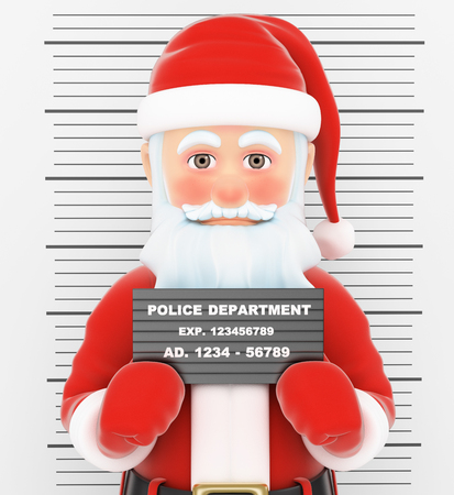 incarcerated: 3d christmas people illustration. Santa Claus arrested. Criminal police photo. Isolated white background.