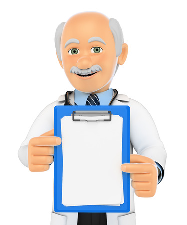 communication concept: 3d medical people illustration. Doctor with a blank clipboard. Isolated white background. Stock Photo