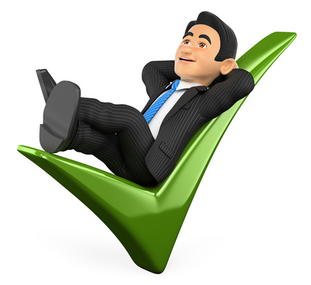 confirm: 3d business people illustration. Businessman lying on a green tick. Isolated white background.