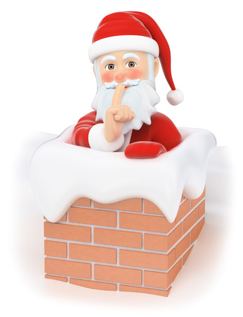 3d christmas people illustration. Santa Claus entering a house through the chimney. Isolated white background.