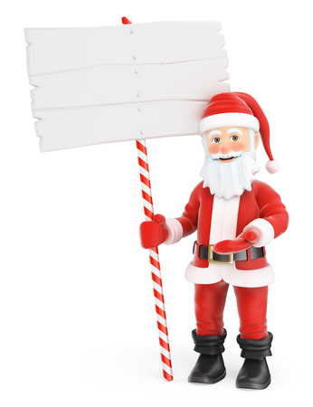 3d christmas people illustration. Santa Claus with a blank sign. Isolated white background.