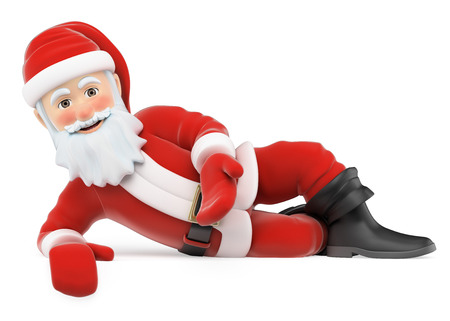 3d christmas people illustration. Santa Claus lying pointing down. Isolated white background. Banque d'images