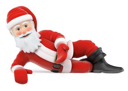 3d personnes noël illustration. Le Père Noël couché vers le bas. fond blanc isolé. Banque d'images