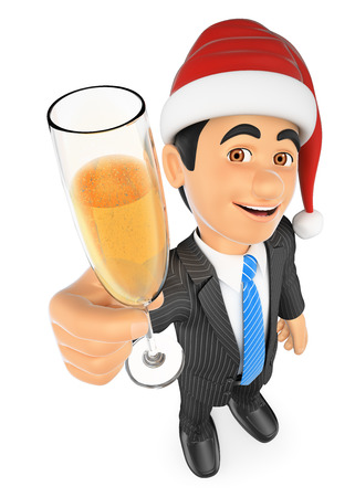 christmas drink: 3d business people illustration. Businessman toasting with a glass of champagne. Isolated white background.