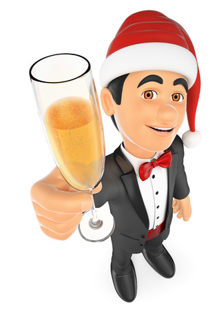 3d bow tie people illustration. Tuxedo man toasting with a glass of champagne. Isolated white background. Stock Photo