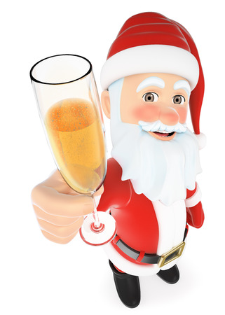 toasting: 3d christmas people illustration. Santa Claus toasting with a glass of champagne. Isolated white background.