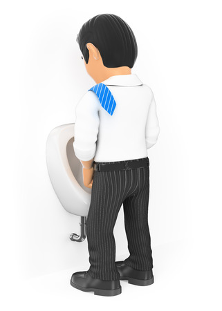 3d business people illustration.  Businessman standing peeing. Isolated white background.