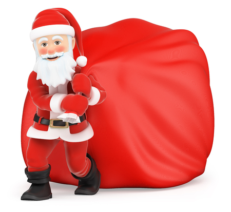 sacks: 3d christmas people illustration. Santa Claus with huge sack of gifts. Isolated white background.
