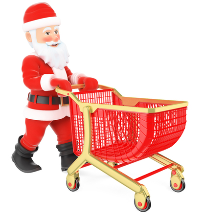 3d christmas people illustration. Santa Claus pushing a shopping cart. Isolated white background. Stock Photo