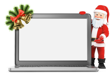 festive: 3d christmas people illustration. Santa Claus with blank screen laptop. Isolated white background.