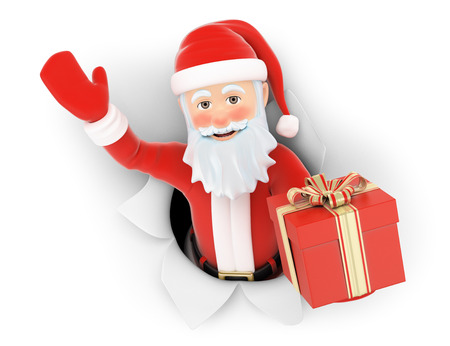 hole: 3d christmas people illustration. Santa Claus leaving a hole in the paper with gift. Isolated white background.