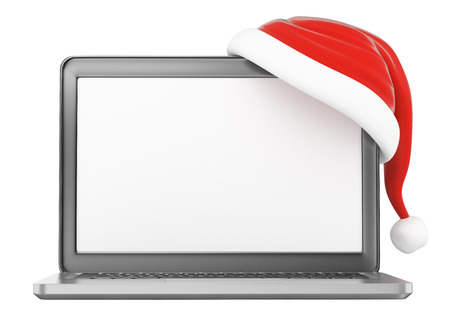 touch screen phone: 3d christmas illustration. Laptop with blank screen and Santa Claus hat. Isolated white background.
