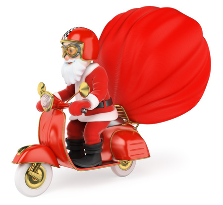3d christmas people illustration. Santa Claus delivering gifts by motorcycle. Isolated white background.