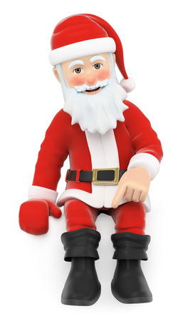 3d christmas people illustration. Santa Claus Santa sitting pointing down with the finger. Isolated white background.