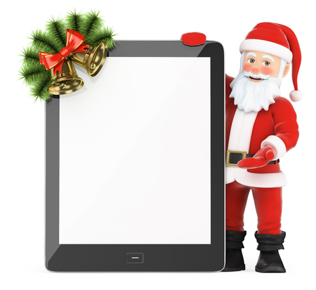 laptop: 3d christmas people illustration. Santa Claus with blank screen tablet. Isolated white background. Stock Photo