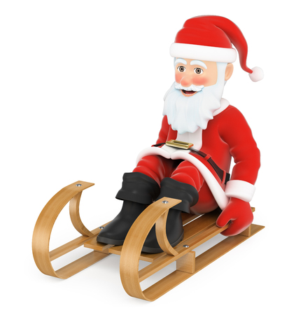 3d christmas people illustration. Santa Claus sleigh riding. Isolated white background. Stock Photo