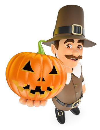 historic: 3d thanksgiving people illustration. Man with a big pumpkin. Isolated white background.