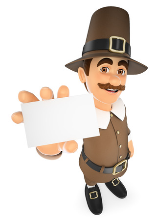 3d thanksgiving people illustration. Man showing a blank card. Isolated white background.