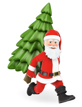 3d christmas people illustration. Santa Claus running with a fir tree on back. Isolated white background.