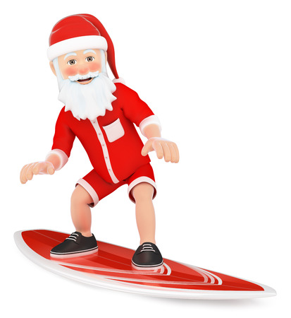 3d christmas people illustration. Santa Claus surfing on a board. Isolated white background Stock Photo