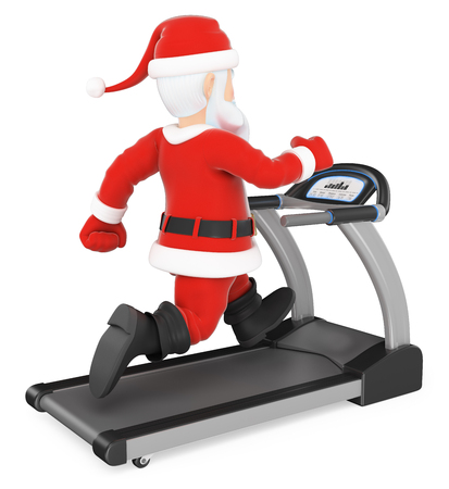 3d christmas people illustration. Santa Claus training hard on a treadmill. Isolated white background. Stock Photo