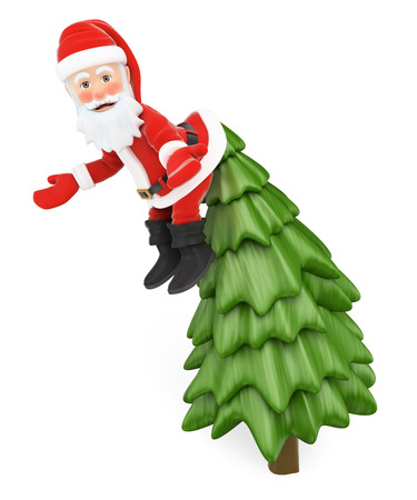 embarrassment: 3d christmas people illustration. Santa Claus hanging from the top of a fir incredulously. Isolated white background.