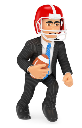 3d business people illustration. Businessman playing American football. Strength concept. Isolated white background. Stock Photo