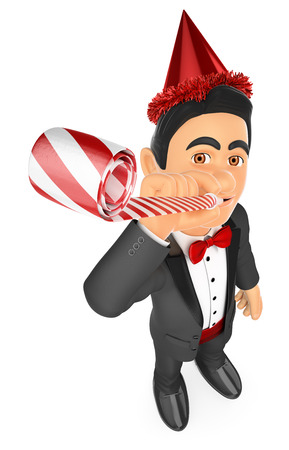 christmas celebration: 3d bow tie people illustration. Tuxedo man in a party celebration with blower and hat. Isolated white background. Stock Photo