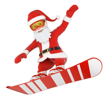 3d christmas people illustration. Santa Claus snowboarding jumping. Isolated white background. Stock Photo