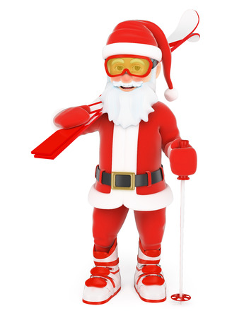 smart: 3d christmas people illustration. Santa Claus with ski equipment. Isolated white background.