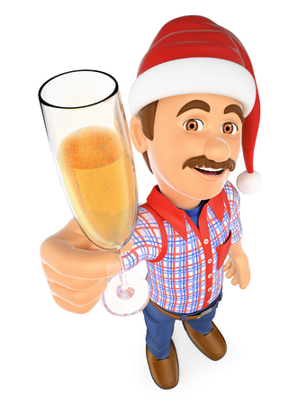 3d christmas people illustration. Worker toasting with a glass of champagne. Isolated white background. Stock Photo