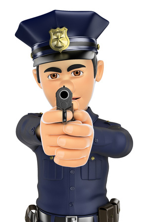 forces: 3d security forces people illustration. Policeman aiming a gun in front. Isolated white background.