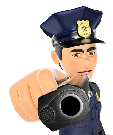 forces: 3d security forces people illustration. Policeman pointing a gun in front. Isolated white background. Stock Photo