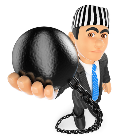 jail: 3d business people illustration. Businessman with prisoner ball. Corrupt politician. Isolated white background.