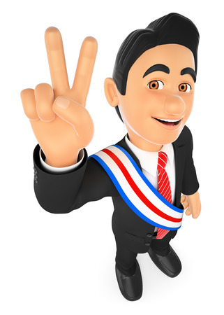 3d business people illustration. Political election winner. President. Isolated white background.
