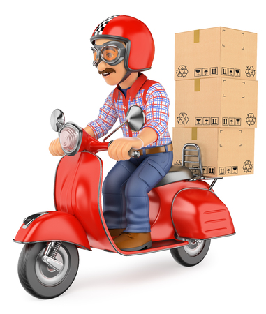 3d working people illustration. Courier delivery man delivering a package by scooter motorcycle. Isolated white background. Stock Photo