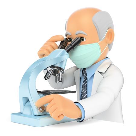 microbiologia: 3d personas médicas ilustración. Doctor que mira a través de un microscopio. Investigador. fondo blanco aislado. Foto de archivo